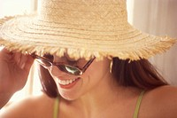 Woman in Straw Hat and Sunglasses