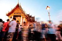 Die Tempelanlage des Wat Benchamabophit bei einer Religioesen Zeremonie in Bangkok der Hauptstadt von Thailand in Suedostasien.