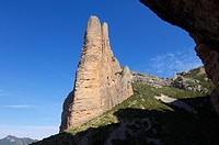 Rock spire known as Mallo Fire in Riglos, Huesca, Aragon, Spain