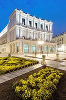 night view of the Teatro Real  Located in the Plaza de Oriente opposite the Royal Palace is one of the most visited places in the city, Madrid, Spain