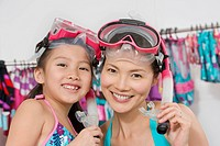 Mother and Daughter Wearing Snorkels