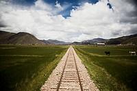 Railway Tracks Through the High Plains of Peru