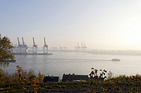 Harbour Cranes in fog in the late fall, Elbchaussee, Hamburg, Germany