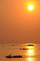 Boats on the Mekong river at sunrise, Phnom Penh, Cambodia, Asia