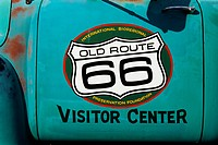 Old Route 66 Sign on a Pickup Truck Door