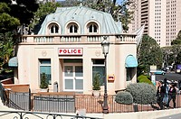 Police station at the park at the Place du Casino, Monte Carlo, Monaco, Europe, PublicGround
