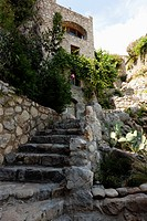 Stone stairs to an old stone house, Labeaume, Ardeche, Rhone_Alpes, France