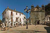 Square and Church, Grazalema, Cadiz-province, Spain,