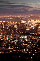 View from Signal Hill onto at night, Cape Town, Western Cape, South Africa