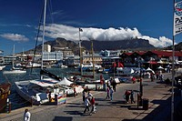 View over Victoria and Albert Waterfront towards Table Mountain, Cape Town, Western Cape, South Africa, RSA, Africa