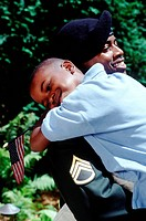 Military man with his son