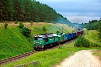 Freight train hauled by the diesel locomotives pas