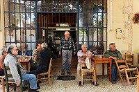 Men in a coffeehouse, Kafenio, Neo Chorio, Chania Prefecture, Crete, Greece