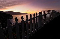 Picket Fence and Sunrise on Coast, California, USA