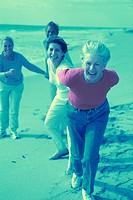 Senior friends on the beach