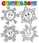 Coloring book cartoon snowflakes 1 _ picture illustration.