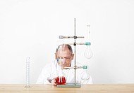 Scientist observing beaker on workbench