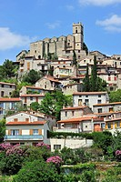 View over the village Eus in the Pyrénées_Orientales, Languedoc_Roussillon, Pyrenees, France