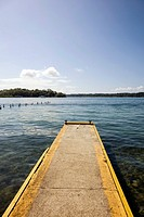 Concrete pier in the Afro-Caribbean town of Old Bank on Isla Bastimentos, Bocas del Toro, Panama