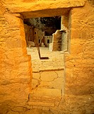 Doorway, with kiva and roof entrance with ladder in second room Spruce Tree House, Anasazi culture cliff dwelling, occupied 12th/13th century Mesa Ver...