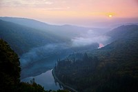 sunset over the Saar Valley, Orscholz, Saarland, Germany