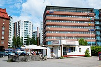 Sausage grill stand with summer terrace along Sörnäisten rantatie street Sörnäinen district Helsinki Finland Europe
