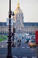 Hotel National des Invalides view from the Pont Alexandre III bridge across Seine River, Paris, France, Europe