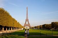 Champ de Mars, park around of Eiffel Tower, Paris, France, Europe