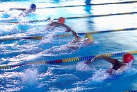 Female swimmers doing the butterfly stroke