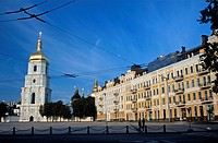Kiev, Ukraine, Sophia Square and entrance to the Saint Sophia cathedral