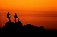 Silhouette of Mountain Climbers