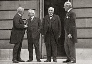 The 'Big Four' at Versailles, France during the peace treaty of 1919 at the end of World War One  From left, David Lloyd George, Vittorio Emanuele Orl...