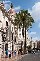 Plaza del Ayuntamiento in downtown, Valencia, Comunidad Valenciana, Spain