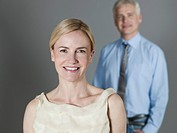 Mature couple smiling, portrait (thumbnail)