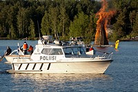 Police boat with Midsummer bonfire, Lappeenranta Finland