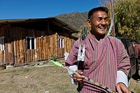 Archery, Bhutan´s national sport, Paro, Bhutan, Asia.