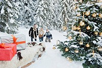 Austria, Salzburg County, Family celebrating christmas in snow