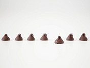 Chocolate sweets on white background, studio shot