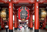 Japan, Tokyo, Asakusa, Senso_Ji Temple, focus on paper lanterns