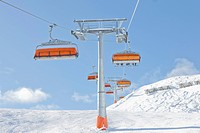 Austria, View of ski lift above austrian alps