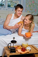 Young couple spending morning together.