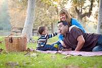 Happy Mixed Race Ethnic Family Having Picnic In Th