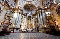 Interior and altar of St. Nicholas Orthodox church, Mala Strana, Prague, Czech Republic, Europe