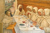 Fresco series depicting the life of St. Benedict, fresco by Sodoma, detail of scene 30, Benedict feeding his monks, cloister of Abbazia di Monte Olive...