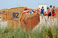 Roofed wicker beach chairs, Timmendorf, Poel island, Mecklenburg-Western Pomerania, Germany, Europe