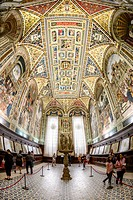 Interior view, north view of the Cathedral Library, Libreria Piccolomini, Cathedral of Siena, Cattedrale di Santa Maria Assunta, main church of the ci...