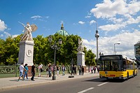 On the old Schinkelbruecke bridge, Unter den Linden street, Berliner Dom, Berlin Cathedral and TV tower at back, Mitte district, Germany, Europe