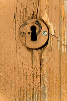 Keyhole at wooden door