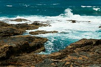 Waves at rocky coastline