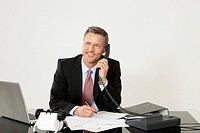 Smiling manager on the phone at desk